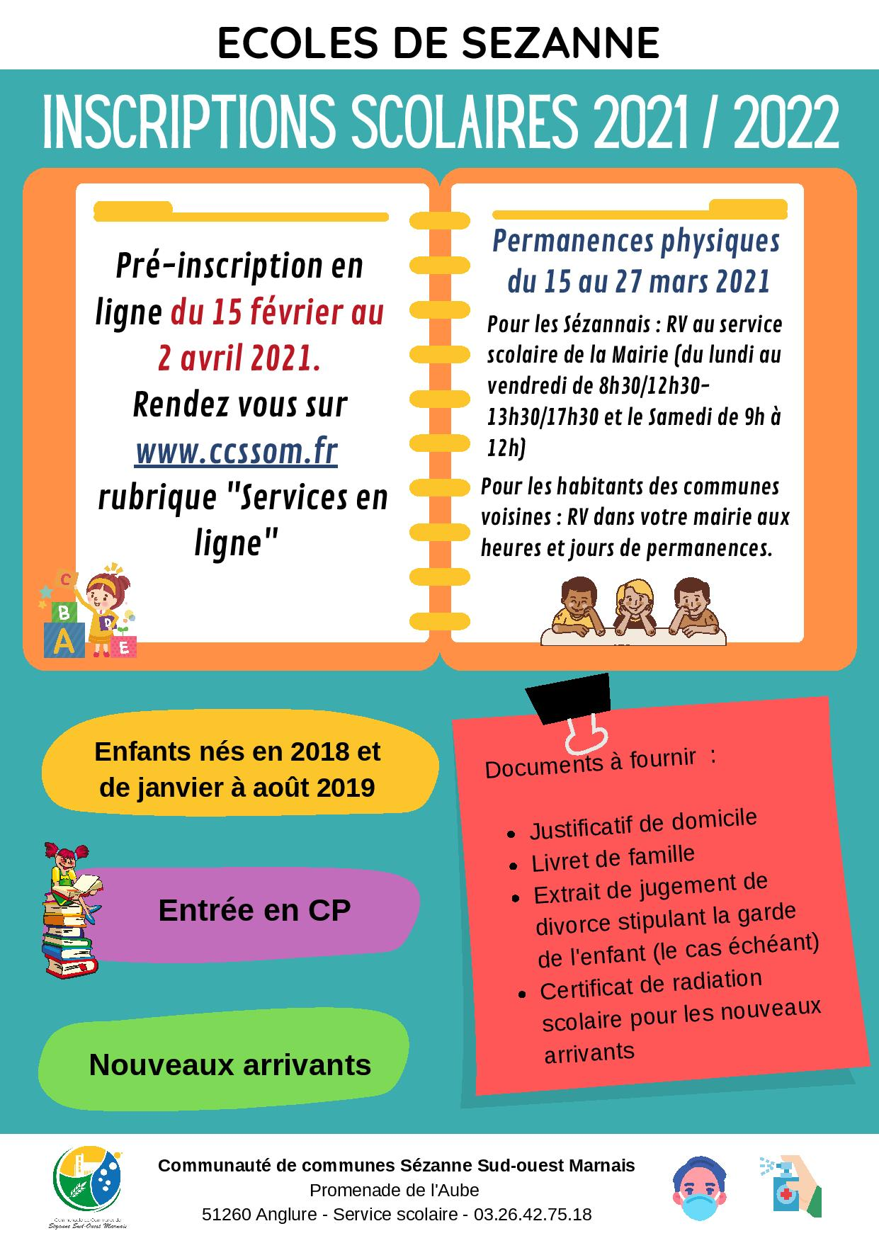 INSCRIPTION SCOLAIRE 2021 2022 SEZANNE 1